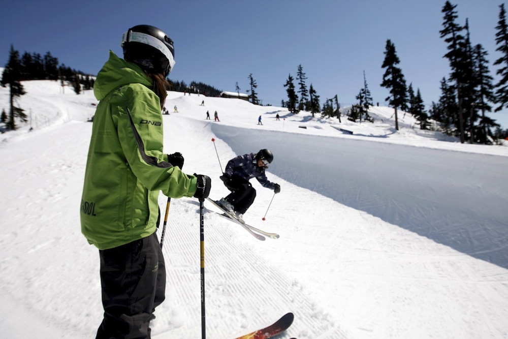 Whistler Blackcomb offers lessons to improve halfpipe skills. Photo by Toshi Kawano, courtesy of Whistler Tourism.