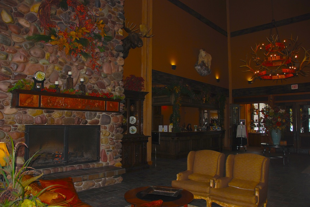The renovated lobby at Grouse Mountain Lodge in Whitefish, Montana. Photo by Becky Lomax.