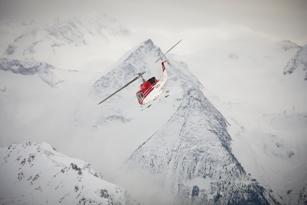 Mid-flight at Tyax Lodge Heli-Skiing. - ©Randy Lincks/Andrew Doran