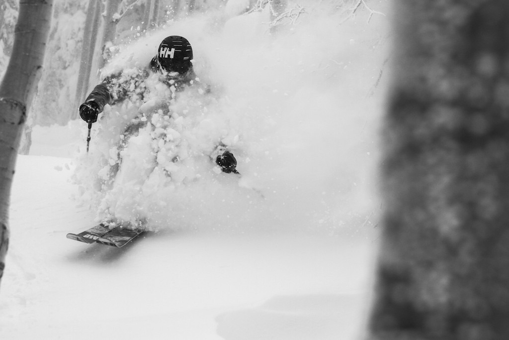 Mike Maroney powers through deep snow in Steamboat's legendary Aspen groves.