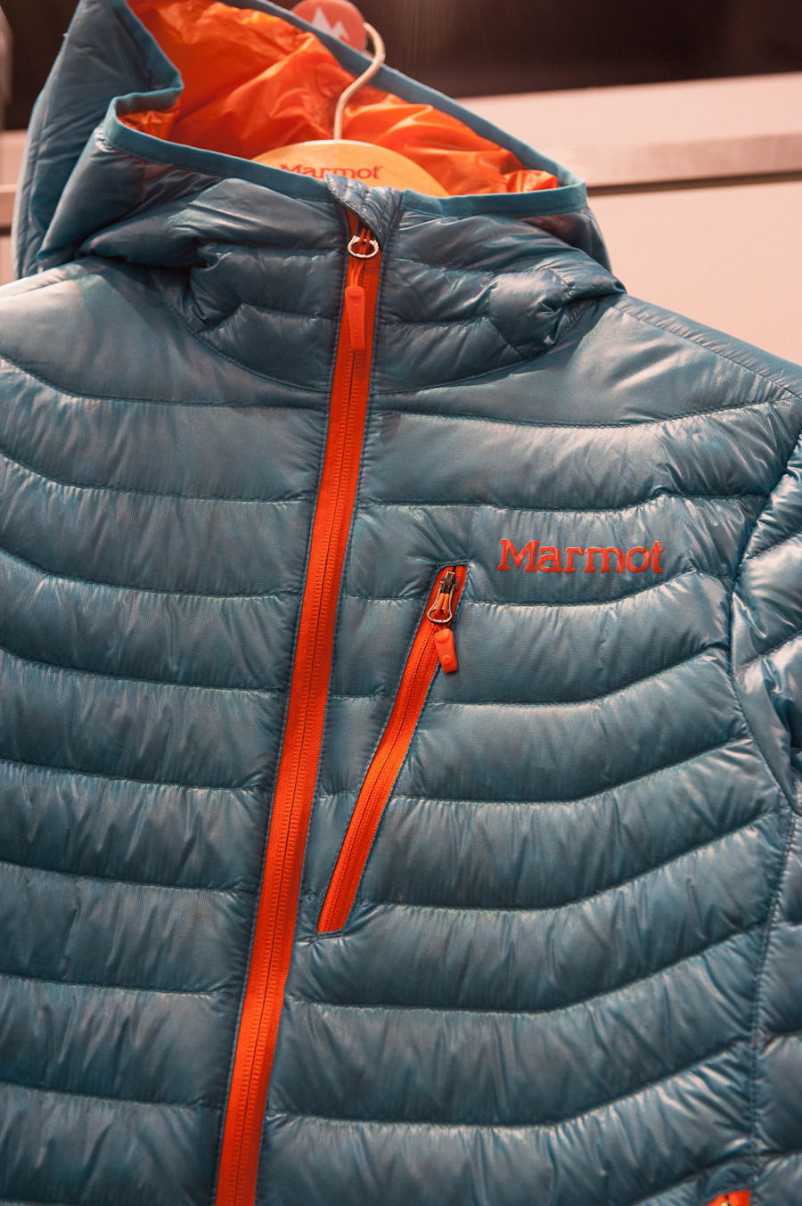 The Quasar Hoody from Marmot is a great down jacket with a built in hood. It has 900 fill down, and can stand up to the coldest of days.