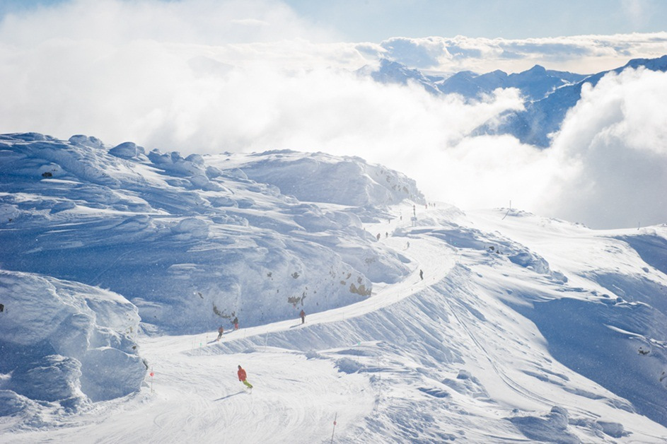 Skiing at the top of Whistler Mountain at Whistler Blackcomb. Photo by Mike Crane, courtesy of Whistler Tourism.