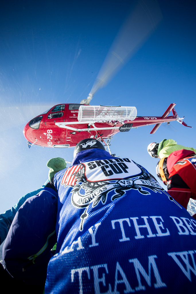 The heli drops off skiers for the Swatch Skiers Cup.