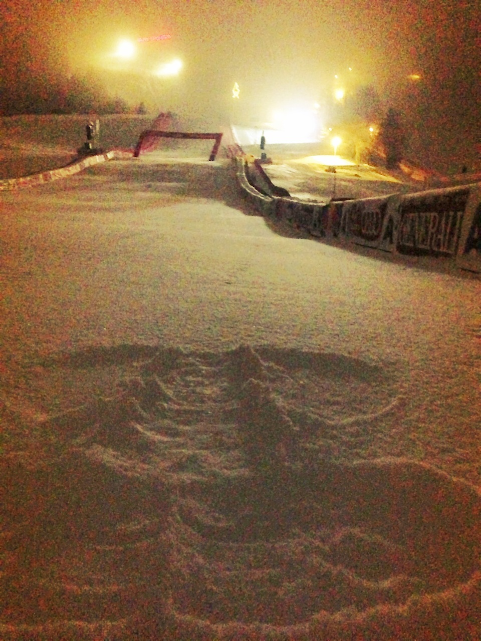 Travis' girlfriend, Canadian racer Marie-Michele Gagnon, made a snow angel the night before the first training run to protect Travis in the Kitzbuhel finish area.