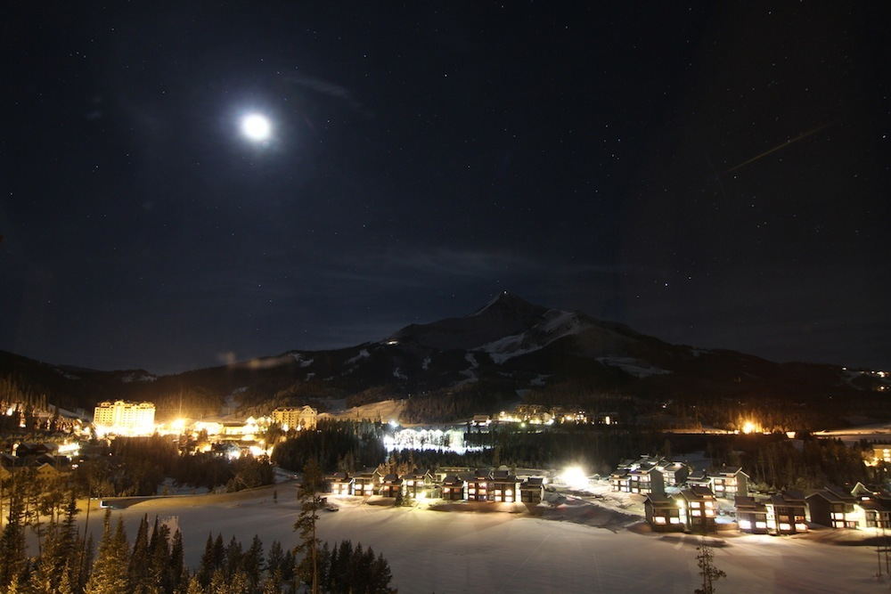 Village at Big Sky Resort at night. Photo by Chris Kamman, courtesy of Big Sky Resort.