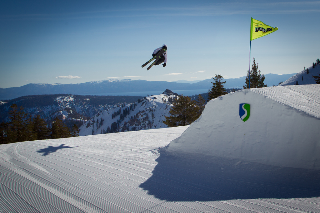 Chris Verrve sending it on one of the five jumps in the Gold Coast Terrain Park at Squaw.  - ©Jeff Engerbretson & Squaw Valley
