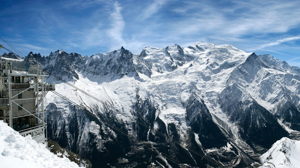 Panoramic view on les Aiguilles Vertes from la Flégère