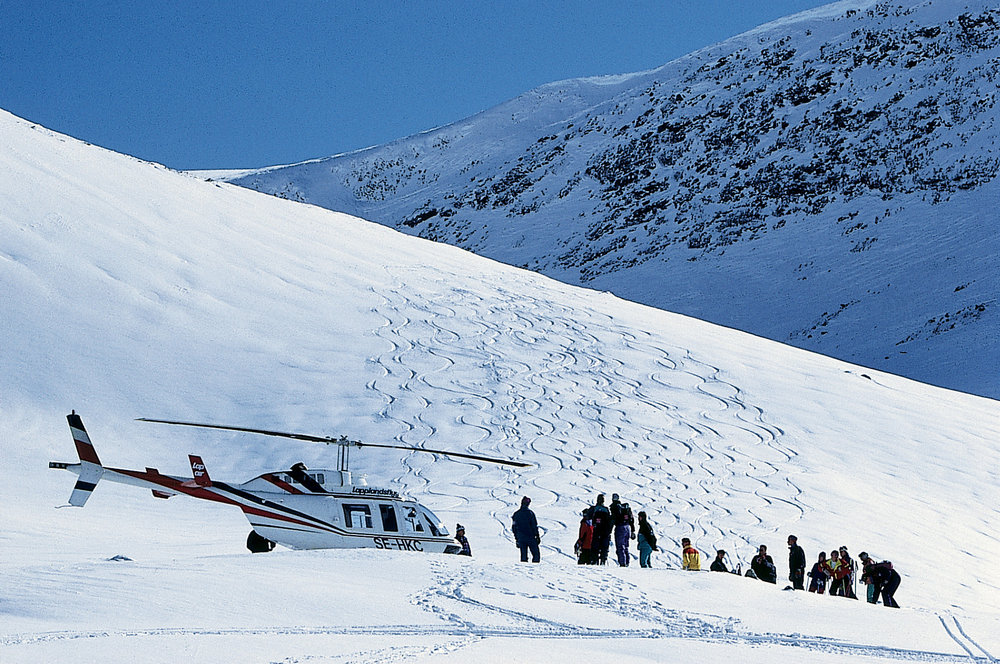 Heli-skiing at Riksgransen Resort, Sweden