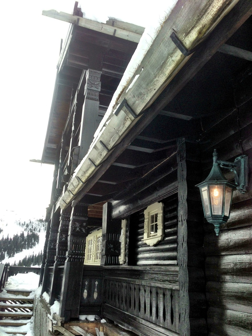 The ski chalets in Kvitfjell, Norway are quite different than the one's near Travis' home mountain of Squaw Valley.