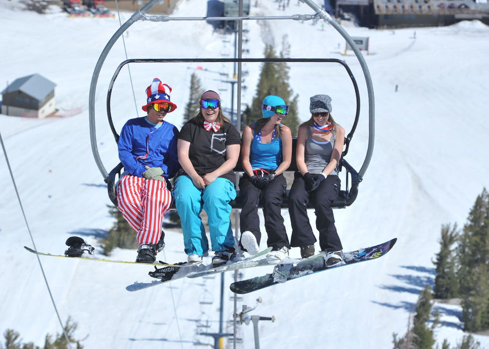 Break out the tank tops for late season skiing at Mammoth Mountain. - ©Courtesy of Mammoth Mountain