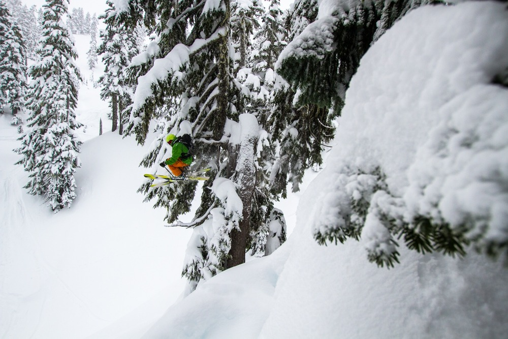 Zack Giffin sends it off one of the many cliffs found at Mt. Baker.