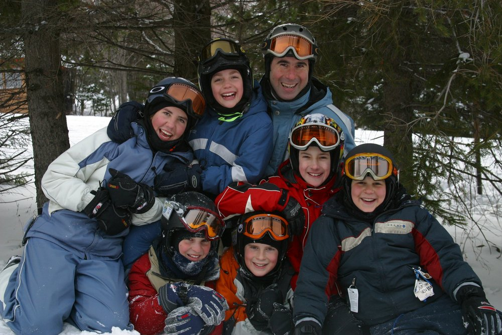 Instructors and students of the Ski & Board School at Mont Sutton, Quebec.