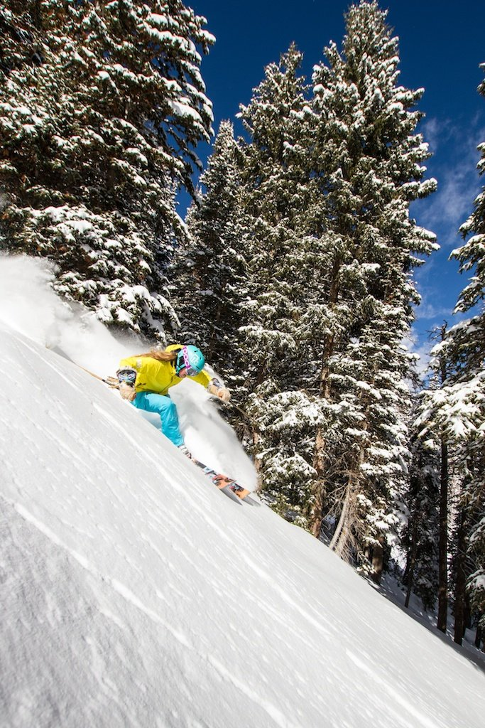 Kaylin Richardson enjoys fresh powder at Canyons in Park City, Utah. The resort averages 355 inches of snowfall a year and has 4,000 acres of skiable terrain