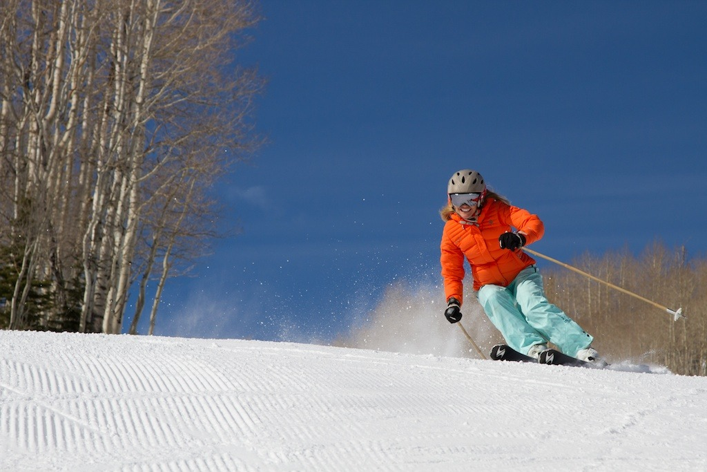 Park City local and retired pro skier Meghan Brown rips it up at Park City Mountain Resort. - ©Liam Doran