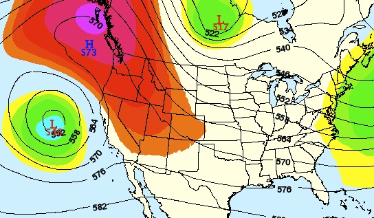 A ridge (red colors) will create warm and dry conditions over the Rockies this weekend.