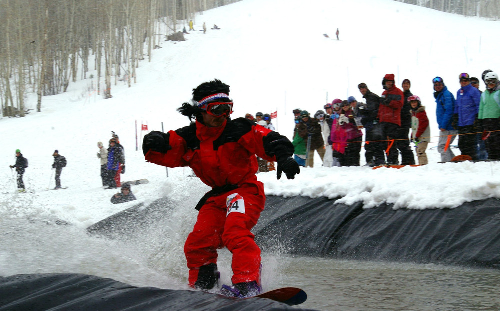 The Beach Party Pond Skim Spectacular is an annual tradition at Sunlight Mountain Resort. - ©Photo courtesy Sunlight Mountain Resort.