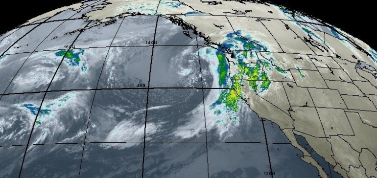 A Pacific storm approaches the west coast.