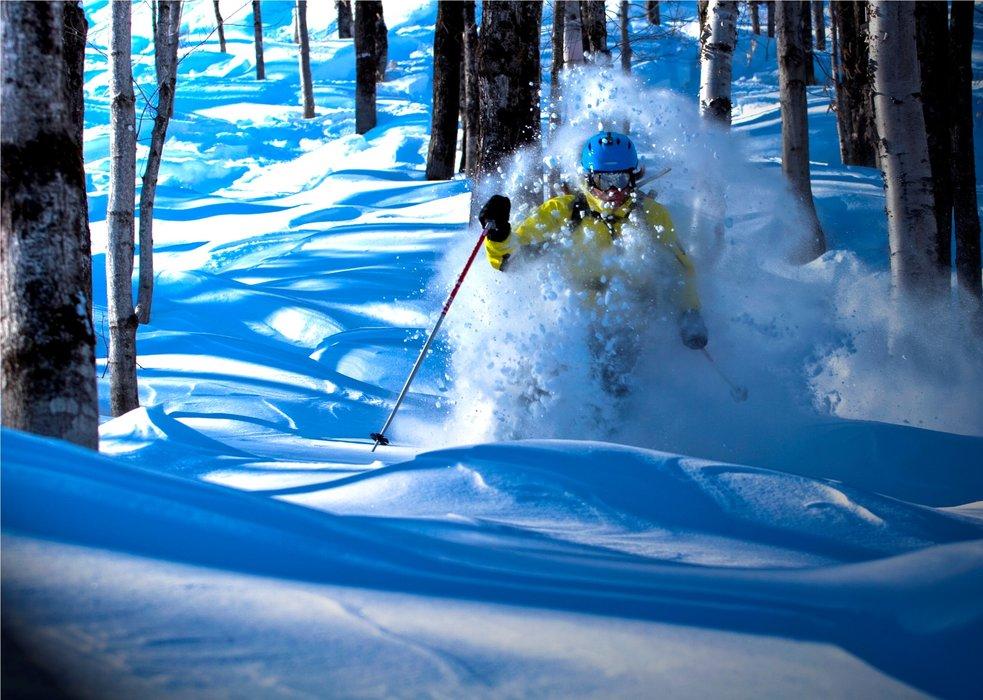 Deep powder skiing at Le Massif.