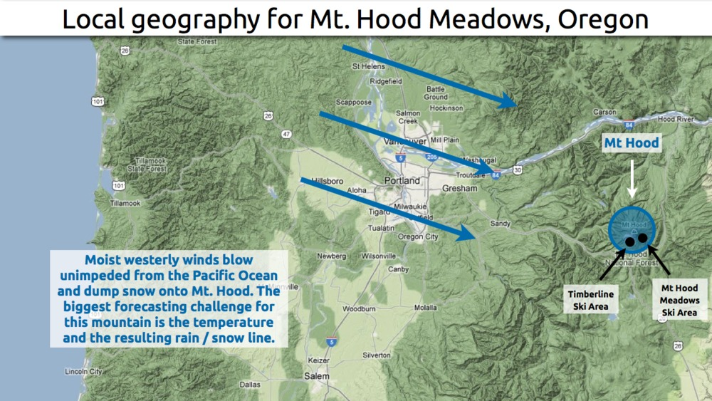 Learn how to predict snowfall totals at Mt. Hood in Oregon.