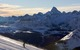 Lone skier on slope with panoramic views, Sunshine Village