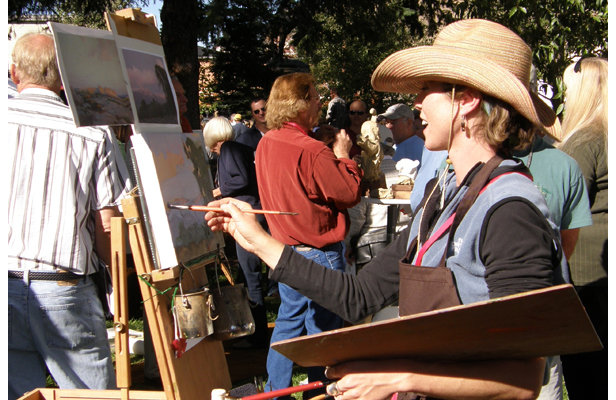 One of the highlights of the Jackson Fall Arts Festival is the QuickDraw Art Sale, where artists are given an hour to produce a unique piece of art in front of spectators that then bid on the art.