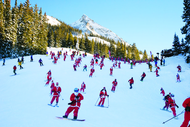Sliding Santas take over the slopes of Crested Butte. - ©Crested Butte Mountain Resort