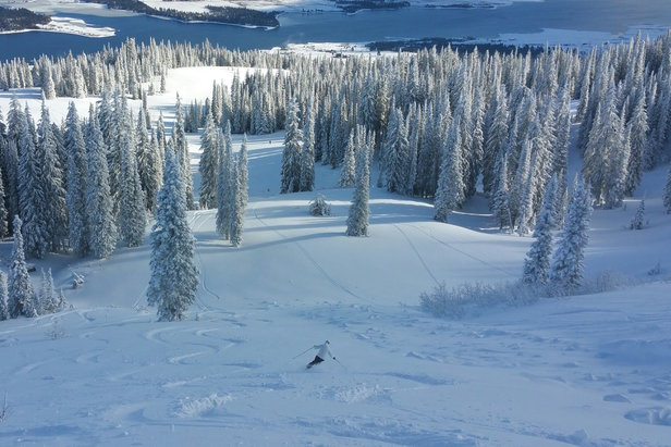 Skiers at Tamarack grabbed powder turns on Dec. 22, 2014. - ©Tamarack Resort