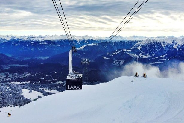 Stunning views on the ski slopes in Laax, Switzerland