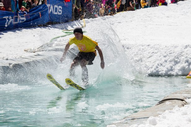Pond Skimming Championships - ©Celebrate the end of the season by laughing until your sides hurt at this must see event. Competitors will use any means necessary to skim across a pool of ice cold water (best costume earns points). No motorized vehicles, no ski poles. You must be 13 to