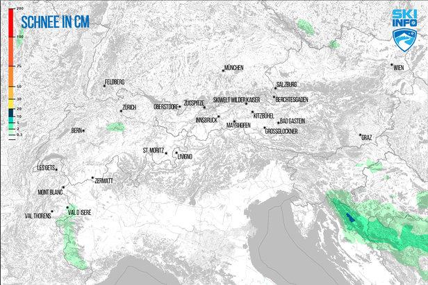 Schneevorhersage für den Alpenraum vom 24.01.2017 (6:30 Uhr) für die nächsten 24 Stunden - ©[c] ZAMG | Skiinfo