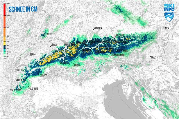 Snehová predpoveď pre Alpy z 15.4.2017 (6:30) na najbližších 48 hodín - ©[c] ZAMG / Skiinfo