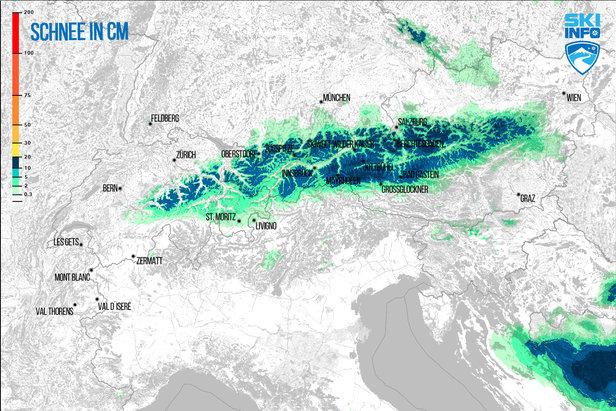 Prognoza opadów śniegu dla Alp z 20.04.2017 (6:30) na najbliższe 72h - ©[c] ZAMG / Skiinfo