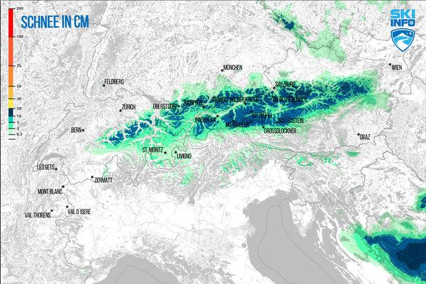 Prognoza opadów śniegu dla Alp z 20.04.2017 (6:30) na najbliższe 96h - ©[c] ZAMG / Skiinfo