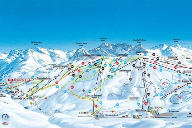 Vo Warth od zimnej sezóny 2017/18 spustia jedno z najmodernejších zasnežovacích zariadení v Alpách (žlto značné pisty sú zasnežované) - ©Warth-Schröcken