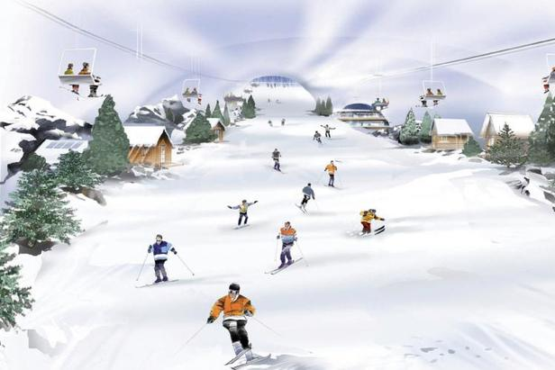 SnOasis indoor ski slope illustration