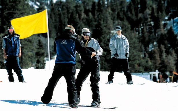 A young skier has learned the basics at Mammoth.