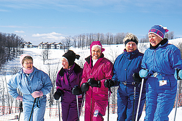 Crystal Mountain, MI lady skiers