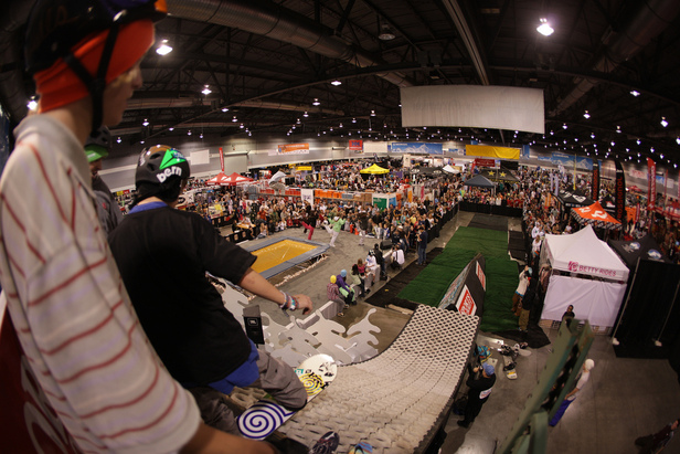 There is plenty of action at the Seattle SkiFever & Snowboard Show, including the Crystal Mountain Ski Patrol Ski Swap. Photo Courtesy of the Seattle SkiFever & Snowboard Show.