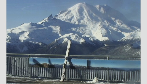 Crystal Mountain finished opening weekend with stellar Mt. Rainier views. Photo courtesy of Crystal Mountain Resort webcam.