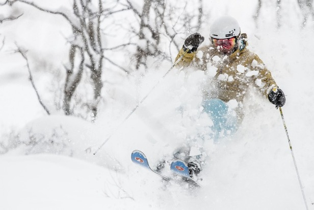 Caroline Lalive explodes through deep snow in Steamboat's Burgess Creek area. - ©Liam Doran
