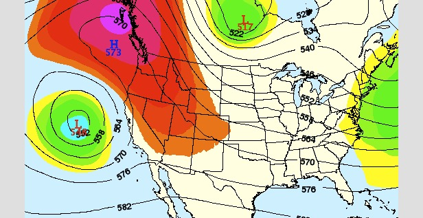 A ridge (red colors) will create warm and dry conditions over the Rockies this weekend. - ©OpenSnow.com