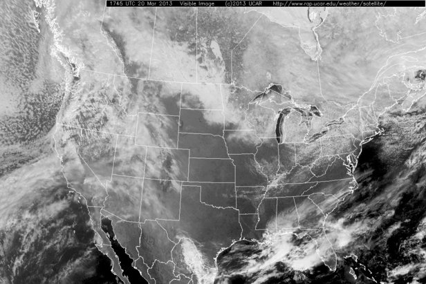 Visible satellite images show exactly what you would see if you looked down at the earth from above. This includes clouds (the fuzzy areas over the western US) as well as snow cover as seen over North Dakota, Minnesota, and southern Canada.
