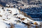 Looking down at Courmayeur, Italy from the slopes. - Looking down at Courmayeur,