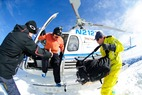 Senior managing editor Dan Kasper jumps out of the heli at Sun Valley. - Senior managing editor Dan
