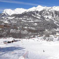 Vue sur le départ des pistes de ski de Serre-Eyraud
