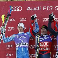 Slalom-Podium in Wengen: Andre Myhrer, Ivica Kostelic und Fritz Dopfer - ©Alexis BOICHARD/AGENCE ZOOM