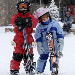 Kid skiers at Kicking Horse BC (KHMR)