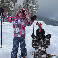Kids enjoying powder day