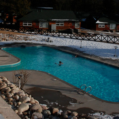 Jasper Park Lodge in Jasper, Alberta, features a spa and outdoor heated pool. Photo by Becky Lomax. 