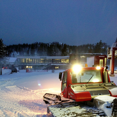 Snowcat preparing for opening day at Boreal